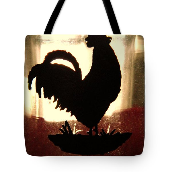 Antique Glass Chicken Silhouette Tote Bag