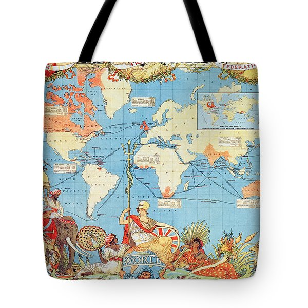 Antique Illustrated Map Of The World Tote Bag by Anonymous