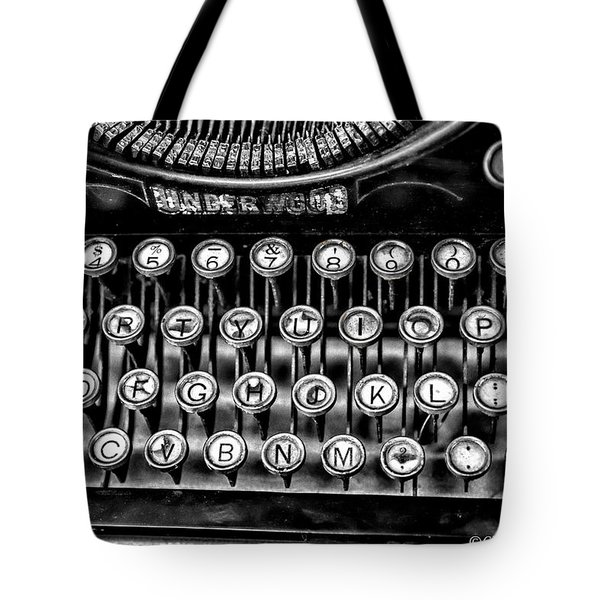 Antique Keyboard - Bw Tote Bag by Christopher Holmes