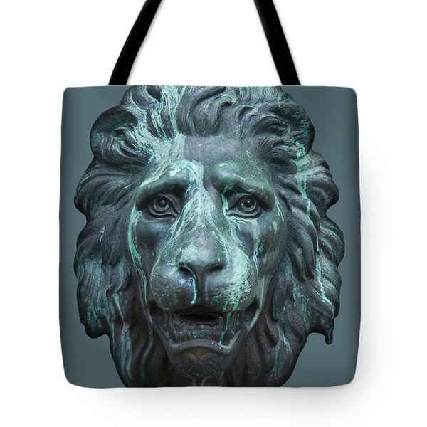 Antique Lion Face In Blue Tote Bag by Jane McIlroy