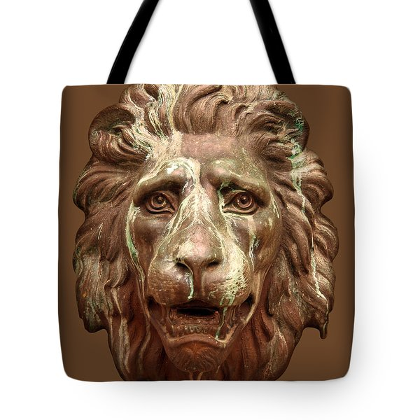 Antique Lion Face In Brown Tote Bag by Jane McIlroy
