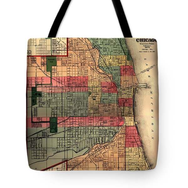Antique Map Of Chicago 1875 Tote Bag