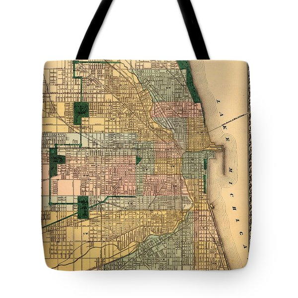 Antique Map Of Chicago 1876 Tote Bag