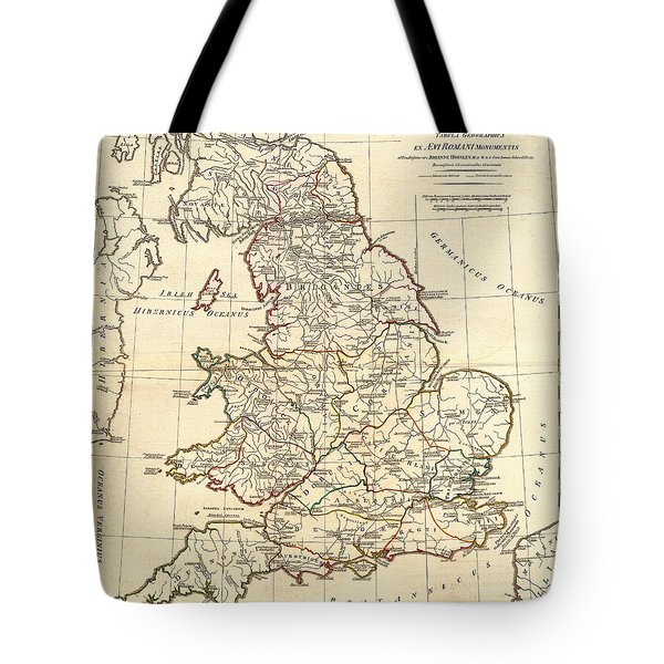 Antique Map Of England In Ancient Roman Times Tote Bag