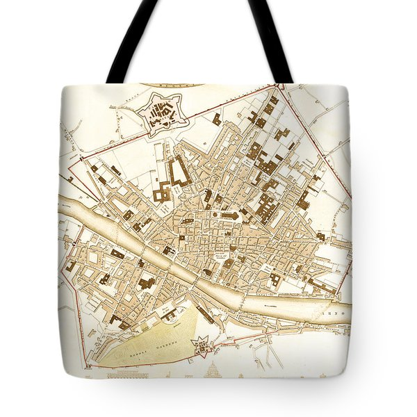 Antique Map Of Florence Italy 1835 Tote Bag