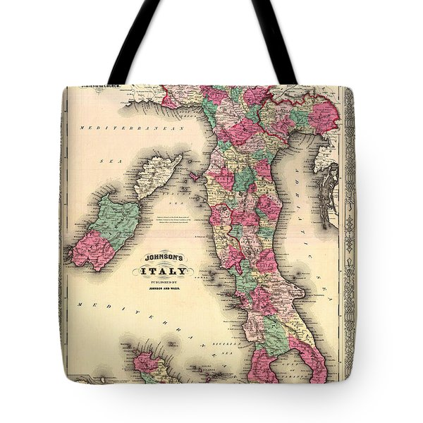 Antique Map Of Italy Tote Bag