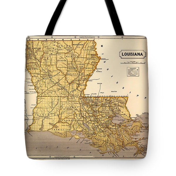 Antique Map Of Louisiana 1845 Tote Bag
