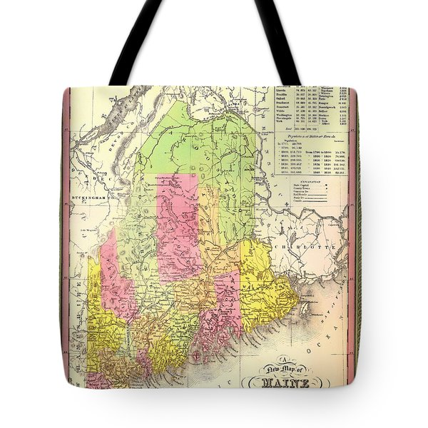 Antique Map Of Maine Tote Bag