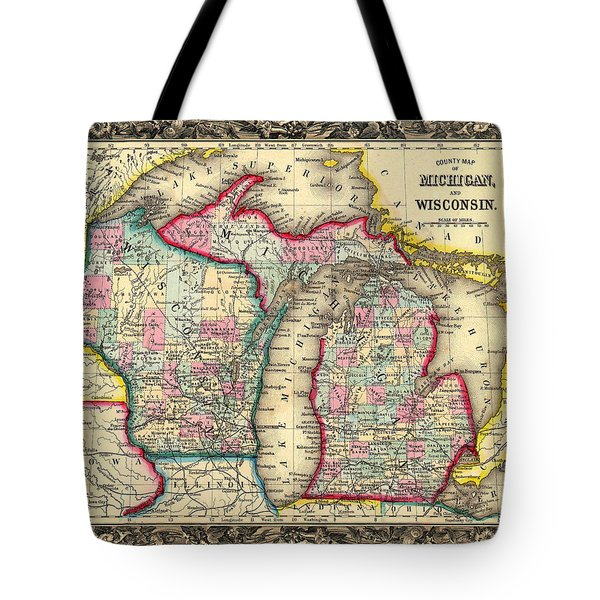 Antique Map Of Michigan And Wisconsin 1860 Tote Bag