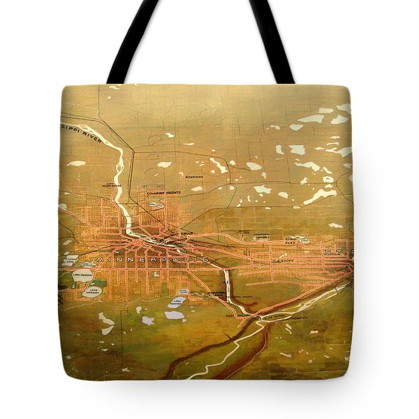 Antique Map Of Minneapolis And St Paul 1904 Tote Bag