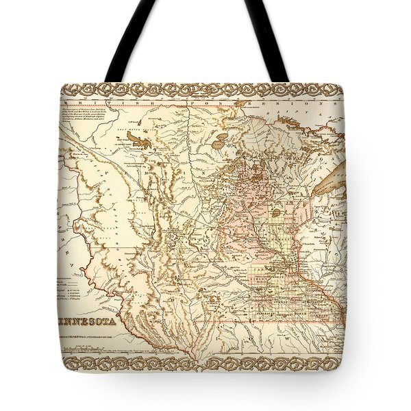 Antique Map Of Minnesota 1855 Tote Bag