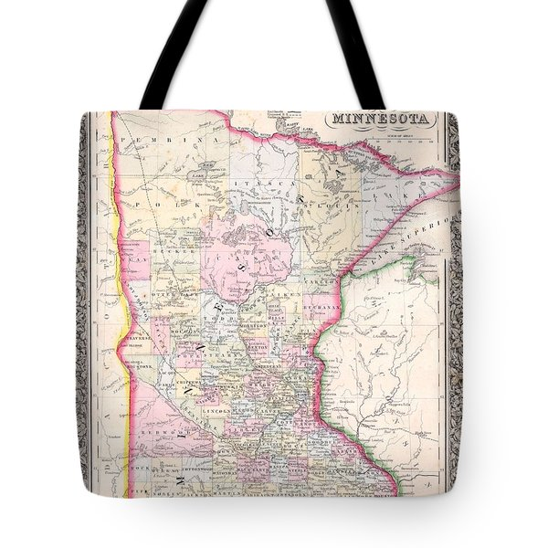 Antique Map Of Minnesota 1864 Tote Bag