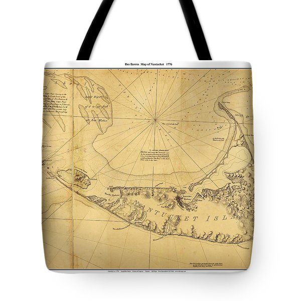 Tote Bag featuring the painting Antique Map Of Nantucket by Celestial Images