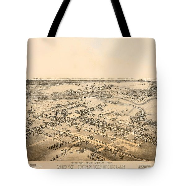 Antique Map Of New Braunfels Texas 1881 Tote Bag
