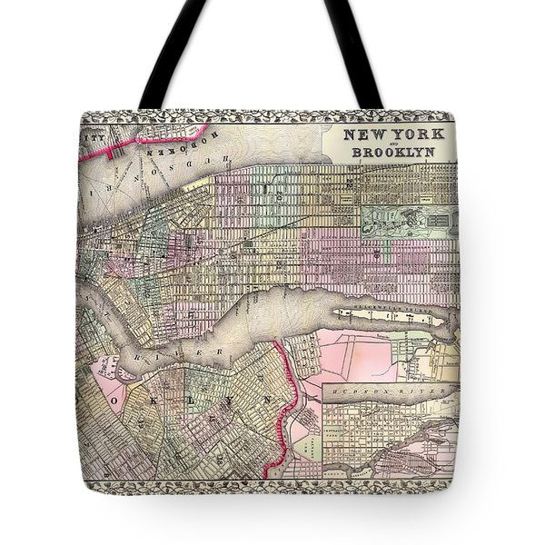 Antique Map Of New York City And Brooklyn 1867 Tote Bag