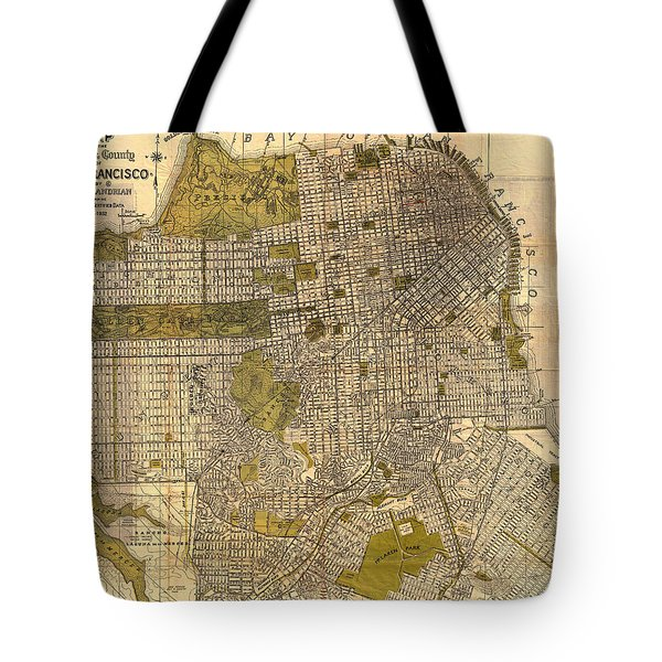 Antique Map Of San Francisco 1932 Tote Bag