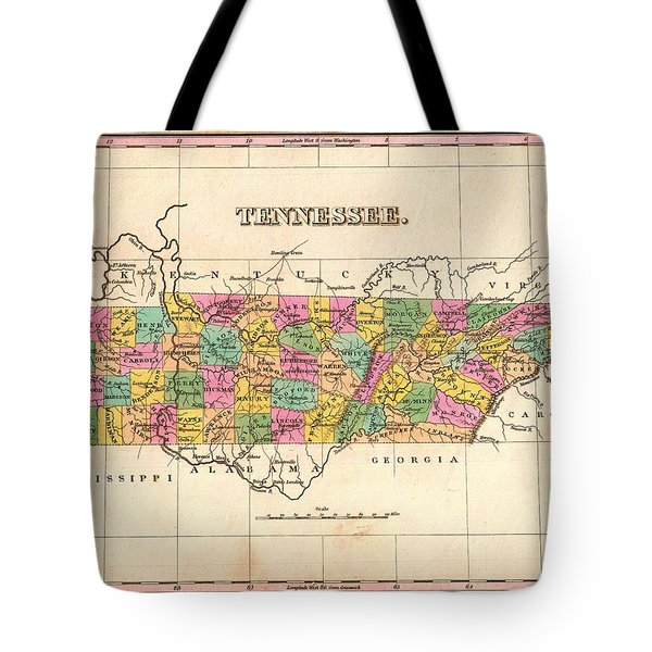 Antique Map Of Tennessee 1827 Tote Bag