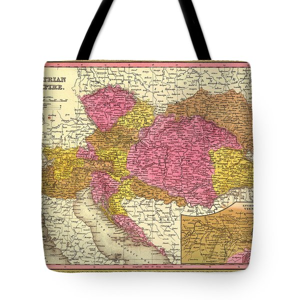 Antique Map Of The Austrian Empire 1850 Tote Bag