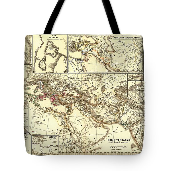 Antique Map Of The Persian Empire Tote Bag