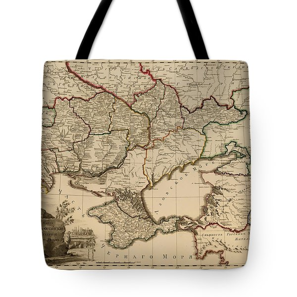 Antique Map Of The Russian Empire In Russian 1800 Tote Bag