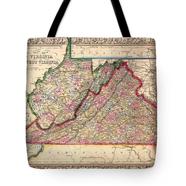 Antique Map Of West Virginia And Virginia 1864 Tote Bag