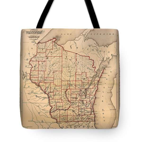 Antique Map Of Wisconsin With Populations 1866 Tote Bag