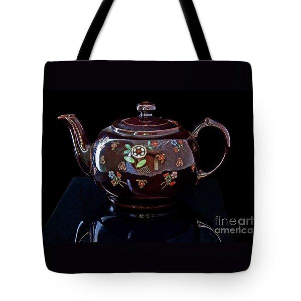 Antique Native American Teapot On Black Art Prints Tote Bag