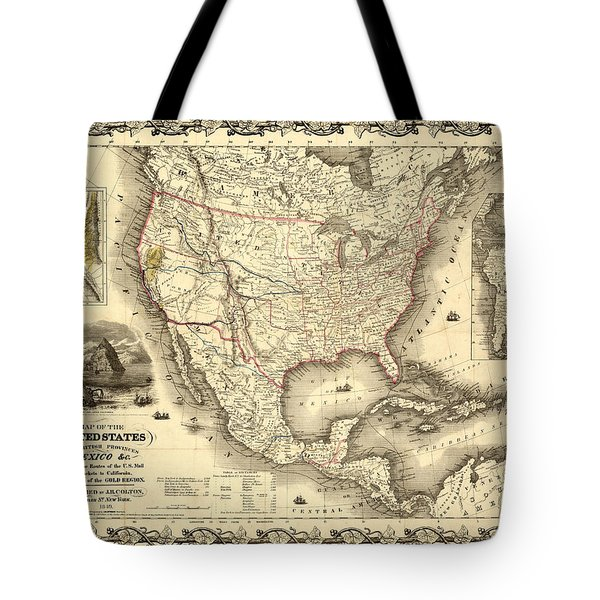 Antique North America Map Tote Bag
