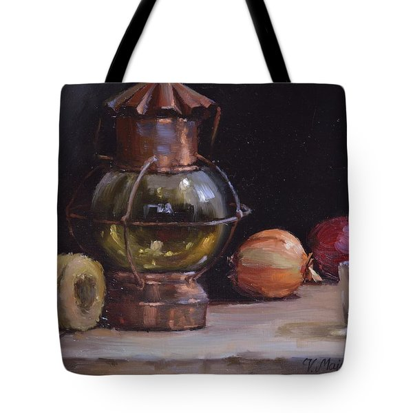 Antique Old Lantern And Onions Tote Bag