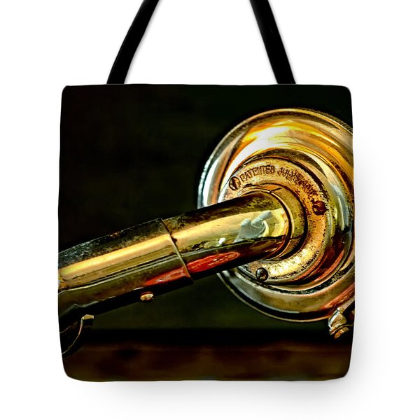 Antique Phonograph Tonearm Tote Bag by Stephen Anderson