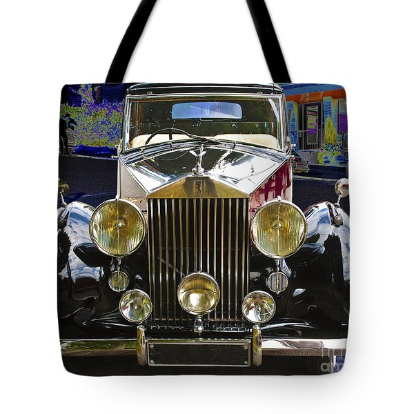 Tote Bag featuring the digital art Antique Rolls Royce by Victoria Harrington