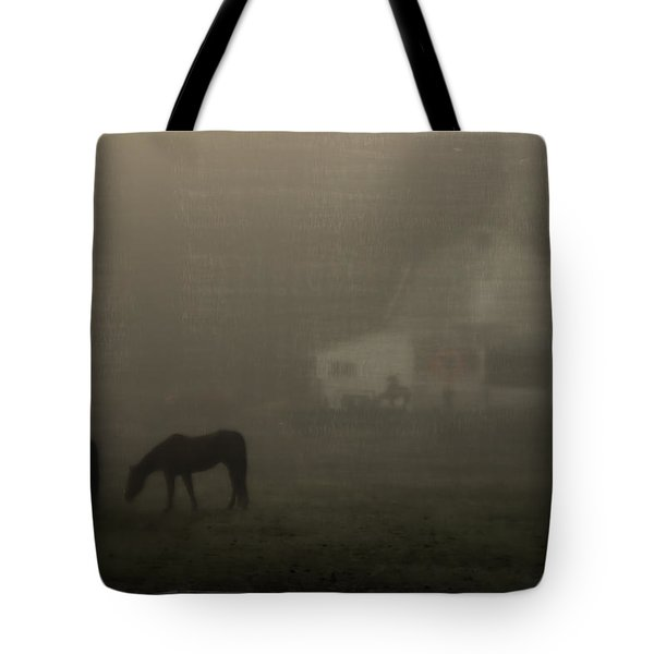 Antique Scene Of Horses In A Fog Tote Bag by Mick Anderson