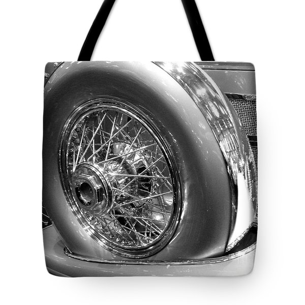 Tote Bag featuring the photograph Antique Spare Tire by Cheryl Del Toro