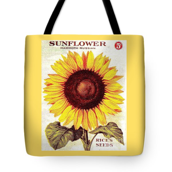 Antique Sunflower Seeds Pack Tote Bag by Peter Gumaer Ogden