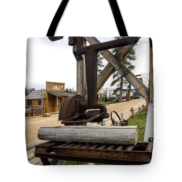 Tote Bag featuring the photograph Antique Table Saw Tool Wood Cutting Machine by Paul Fearn