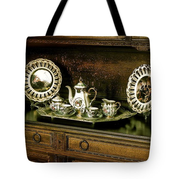 Antique Tea Set Tote Bag