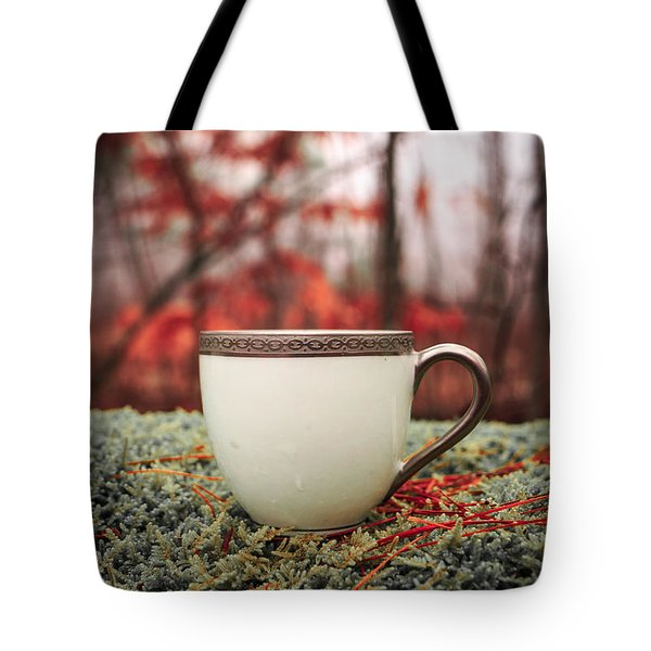 Antique Teacup In The Woods Tote Bag