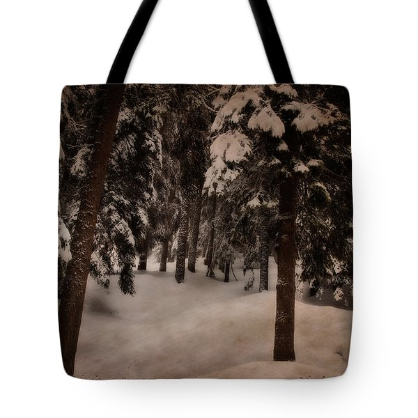 Antique Woodscape Tote Bag