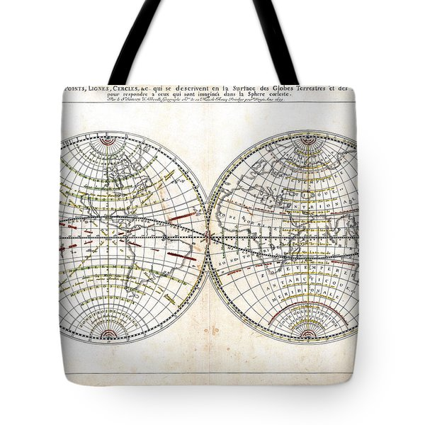 Antique World Map Harmonie Ou Correspondance Du Globe 1659 Tote Bag by Karon Melillo DeVega