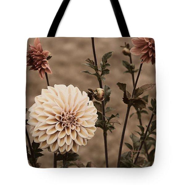 Antiqued Dahlias Tote Bag by Jeanette C Landstrom