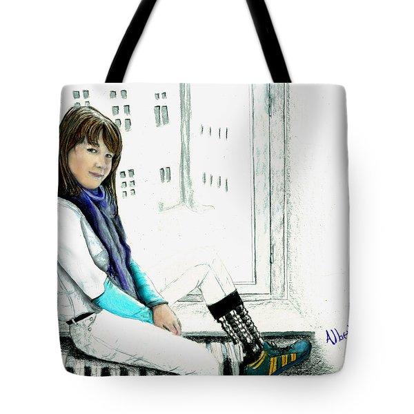 Tote Bag featuring the drawing Antonela In The Window by Albert Puskaric