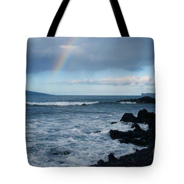 Anuenue - Rainbow Over  Alalakeiki Channel Kihei Maui Hawaii Tote Bag by Sharon Mau