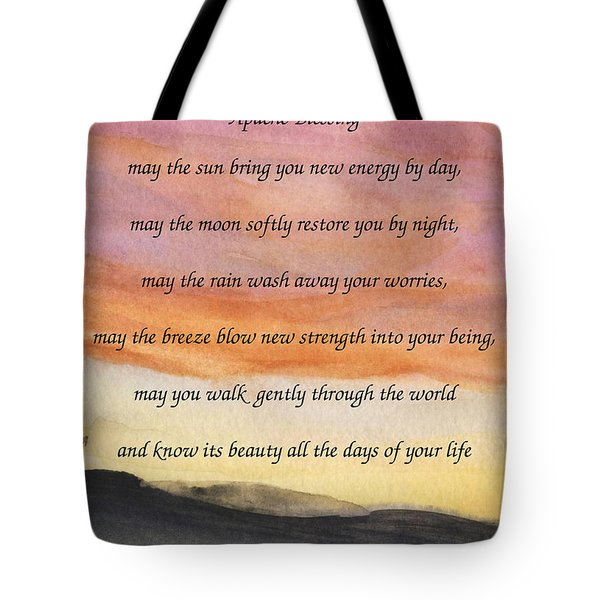 Apache Blessing With Sunset Tote Bag