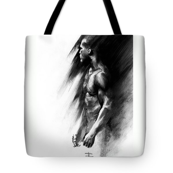 Tote Bag featuring the drawing Apart by Paul Davenport