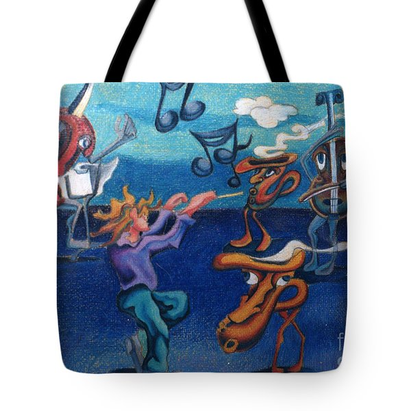 Apollinaire's First Symphony With Musical Instruments Tote Bag by Genevieve Esson