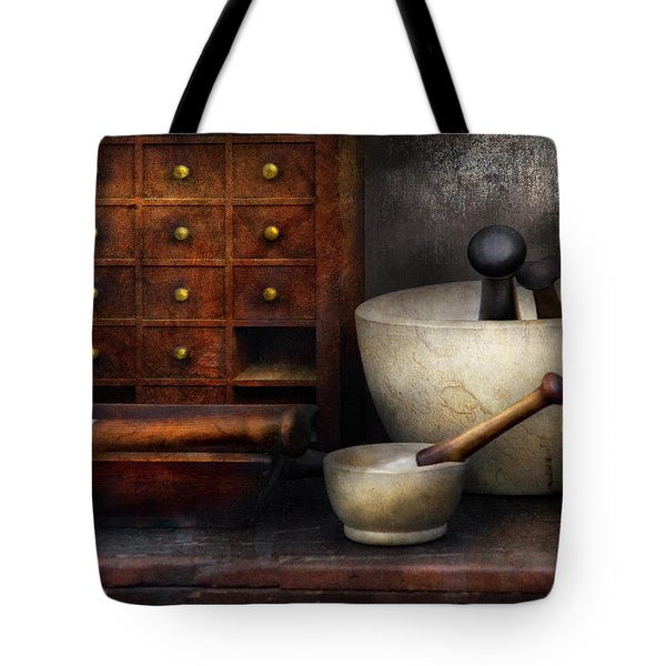 Apothecary - Pestle And Drawers Tote Bag