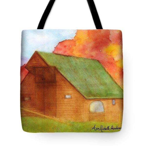 Appalachian Barn In Autumn Tote Bag by Ann Michelle Swadener