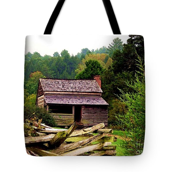 Appalachian Cabin With Fence Tote Bag by Desiree Paquette