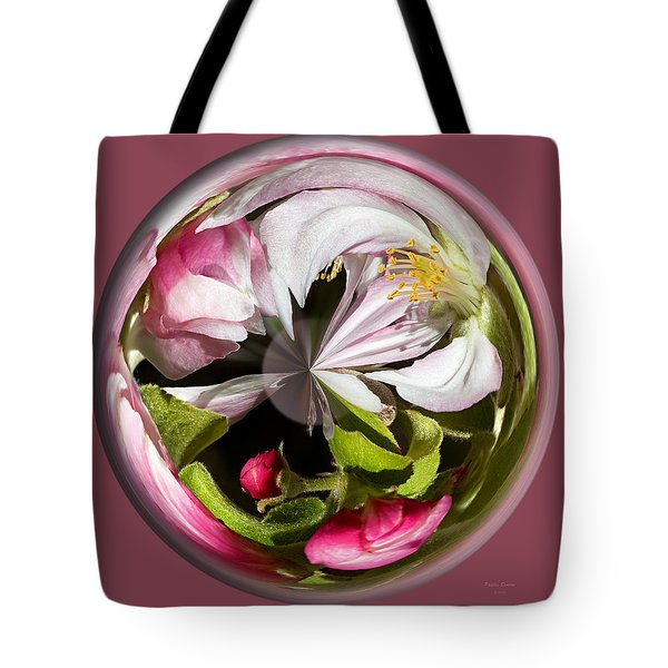 Apple Blossom Globe Tote Bag by Phyllis Denton