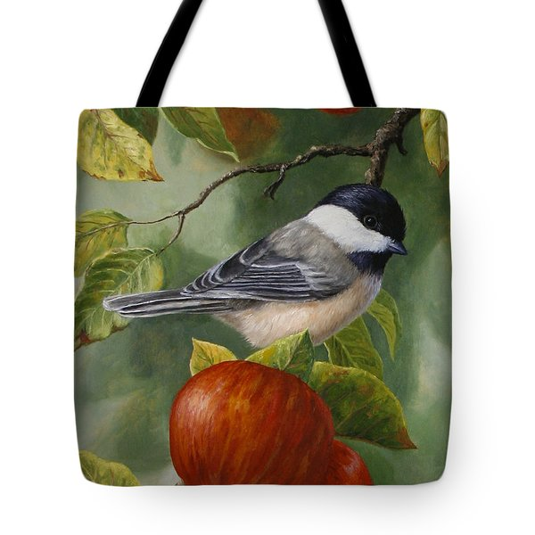 Apple Chickadee Greeting Card 2 Tote Bag by Crista Forest